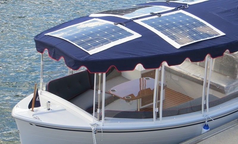 Flexible Solar Panel On Top Of A Boat